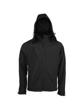 Pánska softshell bunda (KARIBAN MENS HOODED SOFTSHELL JACKET) > čierna > 2XL