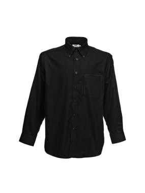 Pánska košeľa (FRUIT OF THE LOOM Long Sleeve Oxford Shirt )>čierna>S