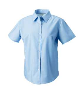 Dámska košeľa(Short Sleeve Easy Care Oxford RUSSELL)>modrá (oxford)>M