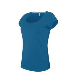 Dámske tričko (KARIBAN LADIES'S BOAT NECK SHORT SLEEVE T-SHIRT) > modrá (tropical) > 2XL