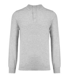 Pánsky sveter (KARIBAN PREMIUM BUTTON NECK JUMPER)>šedá (light heather)>M