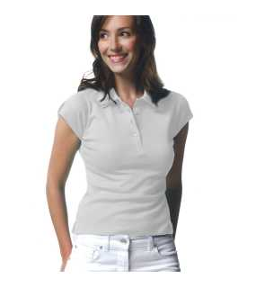 LADIES FITTED POLO>WHITE>L