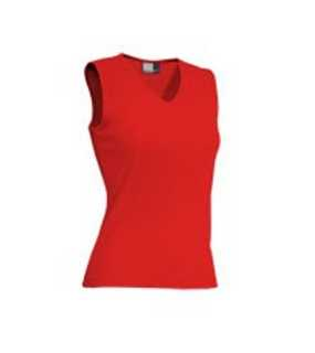 Sleeveless V-Neck; fire red; L