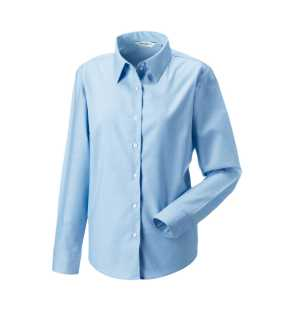 Dámska košeľa(Long Sleeve Easy Care Oxford RUSSELL)>modrá (oxford)>M