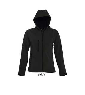 Dámska softshell bunda (SOLS WOMEN WOMENS HOODED SOFTSHELL) > čierna > L