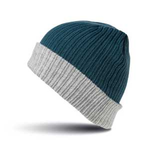 Čiapka (RESULT DOUBLE LAYER KNITTED HAT) > modrá (teal) / šedá