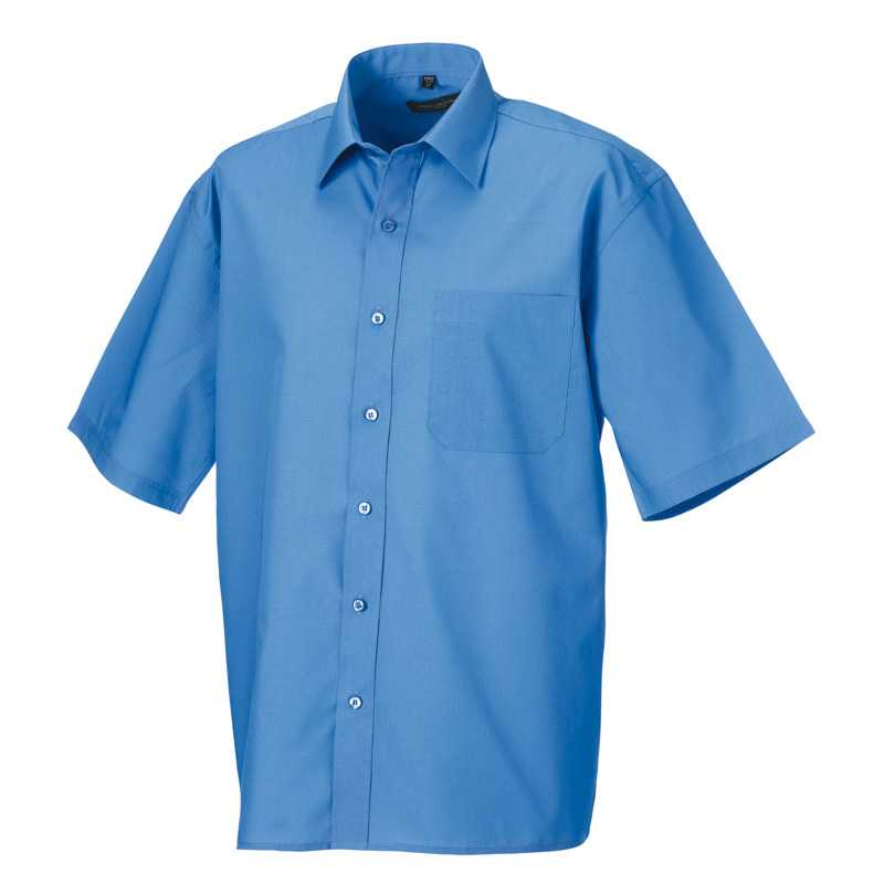 Pánska košeľa(Short Sleeve PolyCotton Easy Care Poplin RUSSELL)>modrá (corporate)>L
