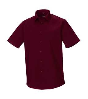 Pánska košeľa(Short Sleeve Easy Care Fitted RUSSELL) > červená (port) > L