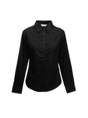 Dámska košeľa (FRUIT OF THE LOOM Lady-Fit Long Sleeve Poplin Shirt ) > čierna > S