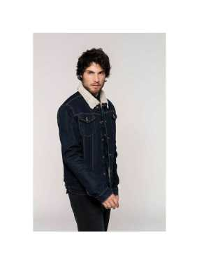 "Pánska bunda (Kariban""MEN'S SHERPA-LINED DENIM JACKET"")>modrá (rinse)>L"