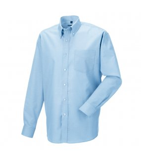 Pánska košeľa(Long Sleeve Easy Care Oxford RUSSELL)>modrá (oxford)>M