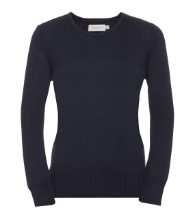 Dámsky sveter(RUSSELL COLLECTION Ladies Crew Neck Knitted Pullover)>modrá(french navy)>M