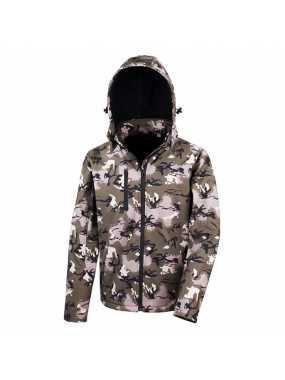 Unisex bunda (RESULT TX PERFORMANCE HOODED SOFT SHELL JACKET) > zelená (camouflage) > XS