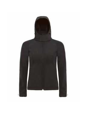 Dámska softshell bunda (B&C HOODED SOFTSHELL/WOMEN) > čierna > M