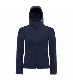 Dámska softshell bunda (B&C HOODED SOFTSHELL/WOMEN)>modrá (navy)>L
