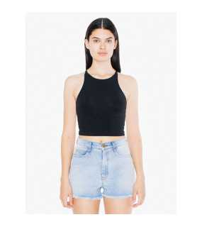 Dámske tielko (AMERICAN APPAREL WOMEN'S COTTON SPANDEX SLEEVELESS CROP TOP)>čierna>L