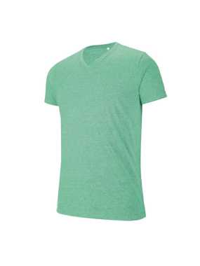 Pánske tričko (KARIBAN V-NECK SHORT SLEEVE MELANGE T-SHIRT) > zelená (heather) > 2XL