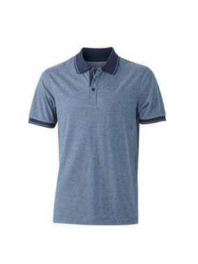Pánska polokošeľa(J&N MEN'S HEATHER POLO)>modrá (melange)/modrá (navy)>2XL
