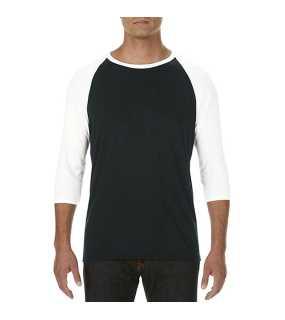 Pánske tričko(ANVIL ADULT 3 SLEEVE RAGLAN TEE) čierna   biela S d7f5f1abdf9