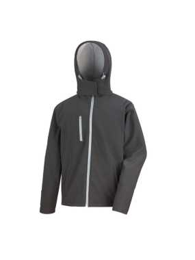 Pánska bunda (RESULT Core TX Hooded Soft Shell Jacket)>čierna / šedá>S