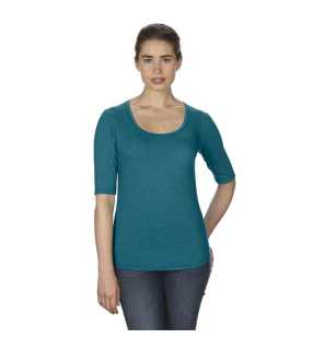 Dámske tričko (ANVIL WOMEN S DEEP SCOOP 3 SLEEVE TEE)>modrá (galapagos heather)>M