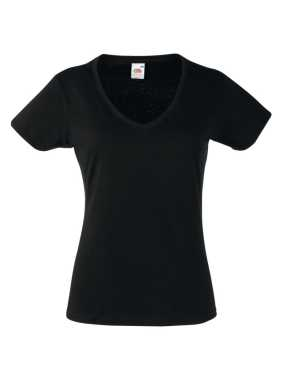 Dámske tričko (FRUIT OF THE LOOM Lady-Fit Valueweight V-Neck T)>čierna>S