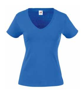 Dámske tričko (FRUIT OF THE LOOM Lady-Fit Valueweight V-Neck T)>modrá (royal)>XS