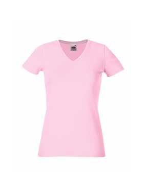 Dámske tričko (FRUIT OF THE LOOM Lady-Fit V-Neck T)>ružová (light)>M