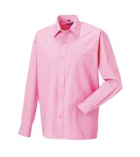 Pánska košeľa(Long Sleeve Pure Cotton Easy Care Poplin RUSSELL)>ružová (bright)>XL