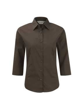 Dámska košeľa(3/4 Sleeve Easy Care Fitted RUSSELL)>hnedá (chocolate)>XS