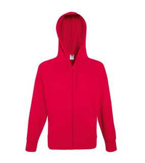 Pánska mikina (Fruit of the Loom-LW HOODED SWEAT JKT)>červená>XL