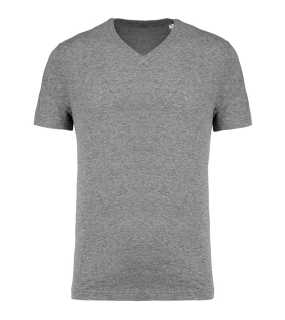 Pánske tričko (KARIBAN MEN'S ORGANIC COTTON V-NECK T-SHIRT)>šedá (heather)>XL