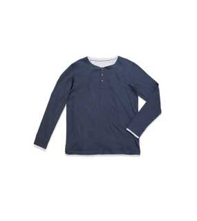 Pánske tričko (STEDMAN Luke Long Sleeve Henley T-shirt) > modrá (navy heather) > L