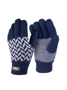 Zimné rukavice (RESULT Pattern Thinsulate Glove)>modrá (navy) / šedá>S/M