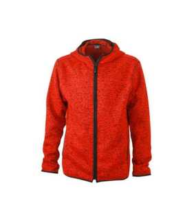 Pánska fleece bunda (JN Men s Knitted Fleece Hoody) červená (melange)   d658692b1cc