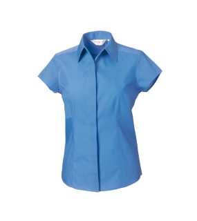 Dámska košeľa(Cap Sleeve PolyCotton Easy Care Fitted Poplin RUSSELL)>modrá (corporate)>S