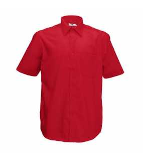 Pánska košeľa (FRUIT OF THE LOOM Short Sleeve Poplin Sh)>červená>M