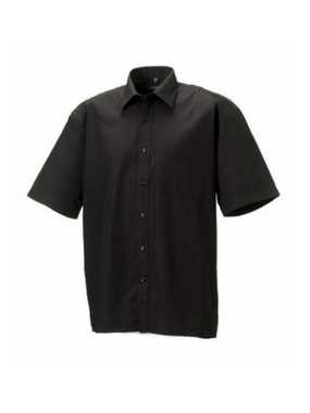 Pánska košeľa(Short Sleeve Pure Cotton Easy Care Poplin RUSSELL)>čierna>M