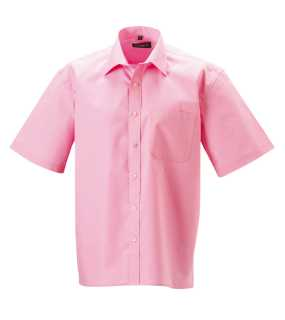 Pánska košeľa(Short Sleeve Pure Cotton Easy Care Poplin RUSSELL)>ružová (bright)>L