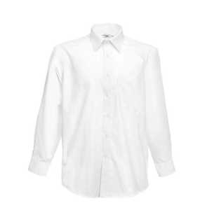 Pánska košeľa (FRUIT OF THE LOOM Long Sleeve Poplin Shirt )>biela>S