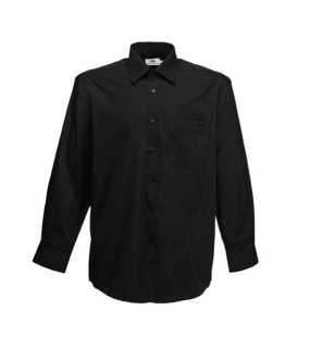 Pánska košeľa (FRUIT OF THE LOOM Long Sleeve Poplin Shirt )>čierna>M