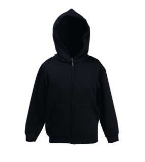 Detská mikina (FRUIT OF THE LOOM Kids Hooded Sweat Jacket )>čierna>7/8