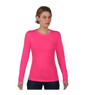 Dámske tričko (ANVIL WOMENS BASIC FITTED LONG SLEEVE TEE) > ružová (hot) > XL