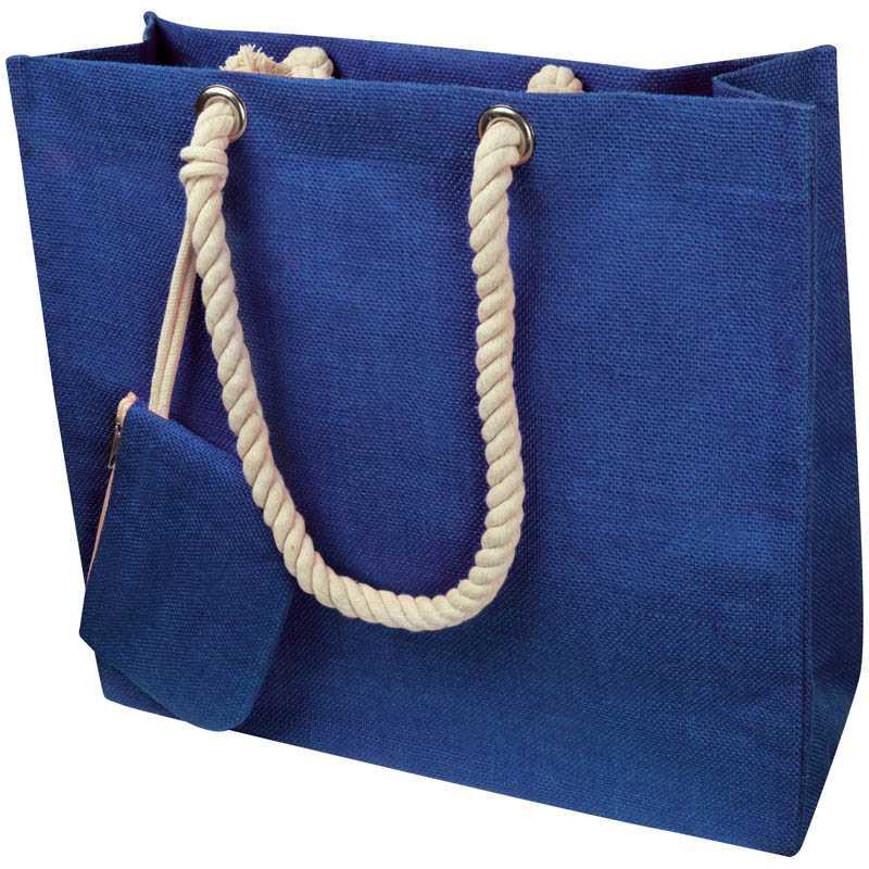 017cbc9be4 Taška z juty so šnúrkou   modrá - REPRE - reklamné predmety