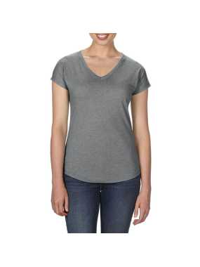 Dámske tričko (ANVIL WOMEN'S TRI-BLEND V-NECK TEE) > šedá (heather graphite) > 2XL