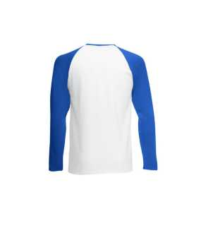 Pánske tričko (FRUIT OF THE LOOM Long Sleeve Baseball T )>biela / modrá (royal)>2XL