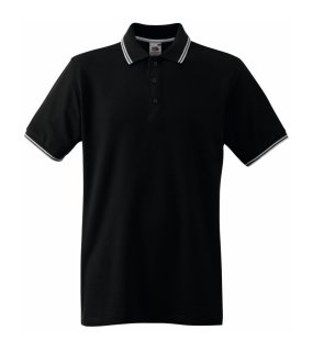 04aa38a3a5bd Pánska polokošeľa (FRUIT OF THE LOOM Tipped Polo) čierna   biela XL