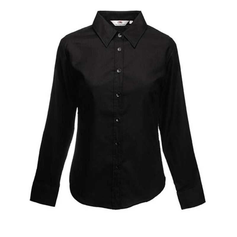 593c3e2076ad Dámska košeľa (FRUIT OF THE LOOM Lady-Fit Long Sleeve Oxford Shirt ) čierna  S