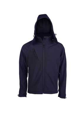 Pánska softshell bunda (KARIBAN MENS HOODED SOFTSHELL JACKET)>modrá (navy)>4XL