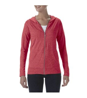 Dámska mikina(ANVIL WOMEN'S TRI-BLEND FULL-ZIP HOODED JACKET)>červená (heather)>S